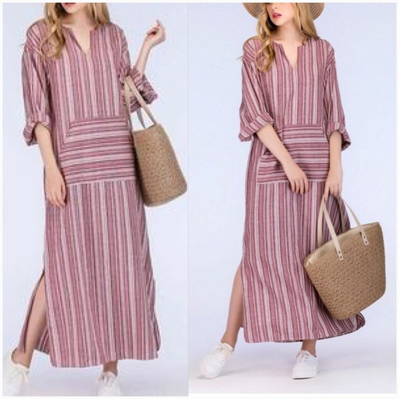 1147a4206ebe Dresses   Rustic Berry Striped Linen Pocket Maxi Dress   Poshmark
